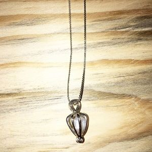 18k GP Chain with Caged Freshwater Pearl Necklace